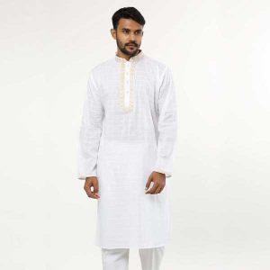 White cotton panjabi - Pn48