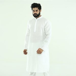 Plain white panjabi with body embroidery -pn21.1
