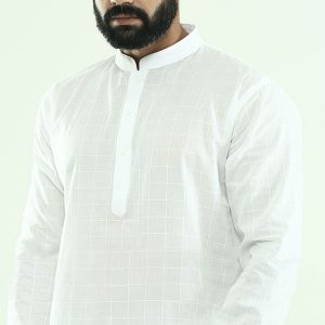 Plain white panjabi with body embroidery -pn21.3